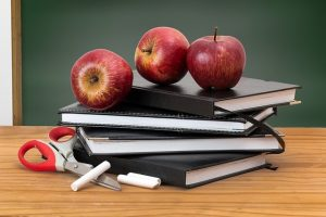 A stack of books, with apples and chalk on top